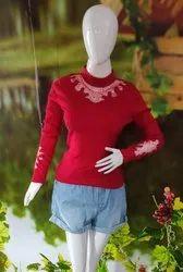 Woolen Round Neck Red Designer Ladies Sweater