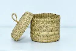 Brown Cylindrical Kauna Grass Handmade Jewelry Box, Size/Dimension: 15 Inch Depth