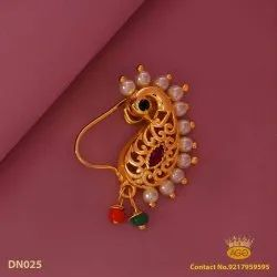 Nath Golden Traditional Fancy Nose Ring, Size: Medium