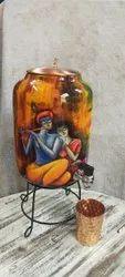 Krishna Print Copper Water Dispenser