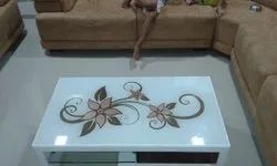 Multicolor Printed Tea Table Glass, For Home, Thickness: 8 Mm