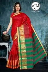 Border Party Wear Red Cotton Saree, 1 M, 6.5 m (with blouse piece)