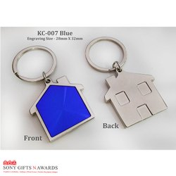 Blue House Fancy Keychain Keyring Engravable