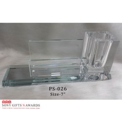 Long Crystal Glass Visiting Pen Holder Stand