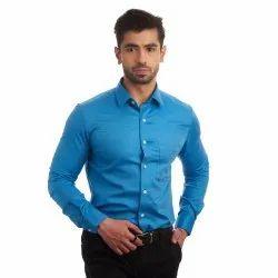 Premium Giza Cotton Full Sleeves Finnoy Men Sky Blue Plain Shirt, Size: 38 - 44