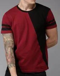 Men Maroon & Black Colour Blocked Round Neck T-Shirt, Size: S to XXL