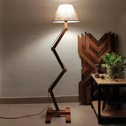 Flex Wooden Floor Lamp With Brown Base And Fabric Lampshade
