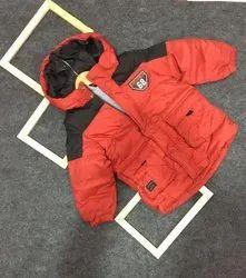 Plain Orange Kids Hooded Jacket, Full Sleeves