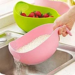 Kitchen Rice Bowl Plastic Fruit Bowl Thick Drain Basket With Handle