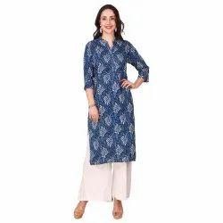 Women Printed Pure Cotton Straight Kurta