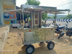 Stainless Steel Silver Mobile Food Cart