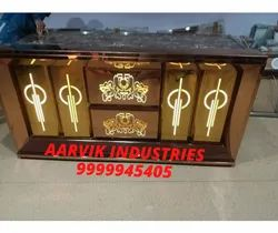 Golden Stainless Steel Bar LED Catering Counter