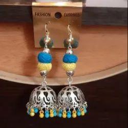 Metal Silver Fancy Jhumka Earrings