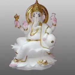 White and Golden Ganesha Marble Statue