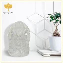 1.5 Inches White God Ganesha Glass Crystal Statue