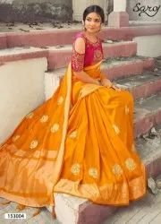 Yellow Color Designer Silk Saree