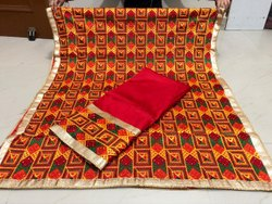 Cotton Unstitched Veer Zara Phulkari Suit, Handwash