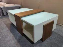2x3 Ft Brown & White Designer Wooden Center Table