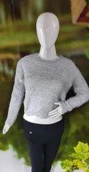 Woolen Round Neck Grey Ladies Sweater