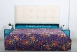 Vintage Floral Cotton Kantha Quilt Indian Printed Queen Kantha Quilted Cotton Bedspread
