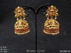 Jhumki Style Temple Earrings