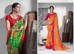 Ruchi Sarees Mix Stylish Chiffon Satin Festive Wear Saree, With Blouse Piece, 5.5 m (Separate Blouse Piece)