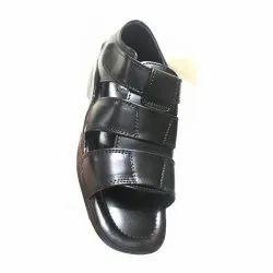 Leather Black Daily Wear Sandal, Size: 6