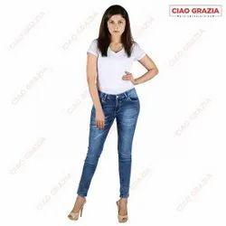 Ciao Grazia Skinny Women Kasmir Blue Denim Jeans, Waist Size: 26 - 34
