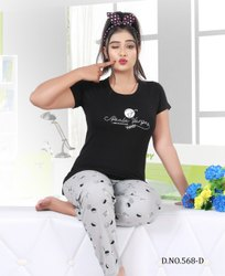 Female Cotton Hosiery Amruta Touch Black and White Night Suit