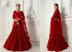 Red Bridal Indian Wedding Net Diamond & Cording Embroidered Lehenga Choli
