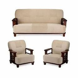 Brown Rectangular Wooden Sofa Set, For Home
