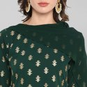 Janasya Women's Dark Green Poly Crepe Kurta With Attached Scarf(JNE3383)