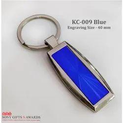 Name & Printed Blue Rectangle Keychain Keyring