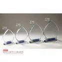 Leaf Palm Shape Blue Crystal Glass Trophy Trohpie