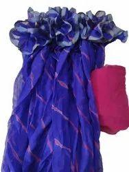 Blue Ladies Casual Wear Nazmin Chiffon Saree, 6.3m (with blouse piece)