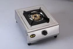 Stainless Steel Silver Single Burner Compact Gas Stove, Model Name/ Number: Quba SG101, Size: 375 * 280 * 25 Mm