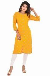 Printed 3/4th Sleeve Ladies Festive Wear Cotton Kurti, Size: M-XXL, Wash Care: Machine wash
