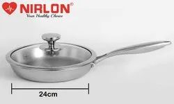 Nirlon Platinum Tri-ply Stainless Steel Frying Pan 24 cm with Glass Lid