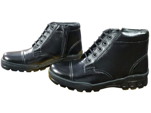 Men Black Leather Boots, Size: 5-11, Rs