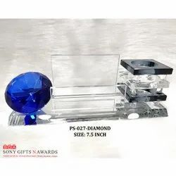 Blue Crystal Glass Diamond Long Black Pen Holder Stand