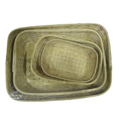 Natural Rectangular Handmade Bamboo Basket Set