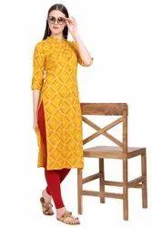 Women Printed Rayon Straight Kurta (Yellow))