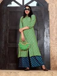 Fancy Rayon Foil Print Ladies Kurti With Plazzo