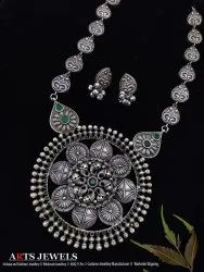 Circle Antique Old Silver Finish Long Necklace Set, Occasion: Party