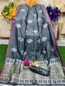 Heavy Lichi Silk With Silver And Golden Zari Weaving Saree