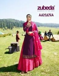 Zubeda Aahana Satin Georgette With Embroidery Work Designer Salwar Kameez Catalog