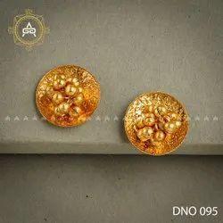 Copper Round Fancy Golden Earring, Size: Medium