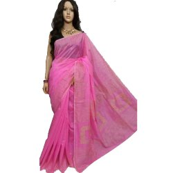 5.5 Meter Light Pink Handloom Cotton Silk Jamdani Festive Wear Saree, With Blouse Piece