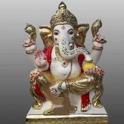 White Marble Gold Touch Lord Ganesha Status
