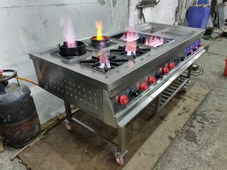 6 Stainless Steel Cooking Station Burner Range